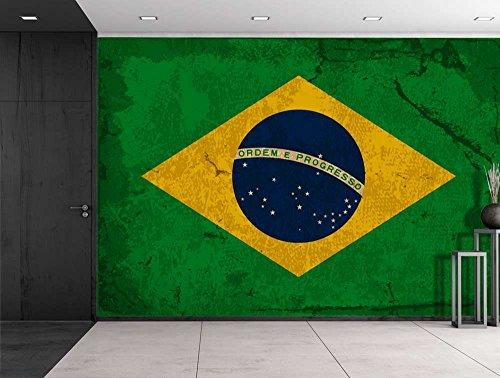 Large Wall Mural Vintage Flag of Brazil Vinyl Wallpaper Removable Decorating