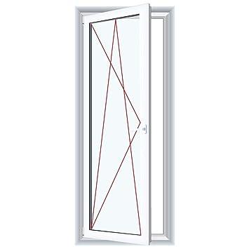 Anschlag:DIN Rechts Glas:3-Fach BxH:800x2100 1-fl/üglige Balkont/ür Terrassent/ür Kunststoff Dreh-Kipp PVC Wei/ß