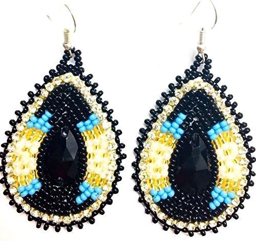 Native Beaded Earrings - Handmade Native American Inspired Beaded Teardrop Earrings (Cream)