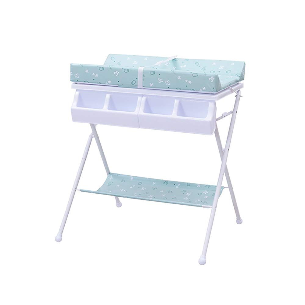 HSRG Newborn Baby Changing Table Multifunction Baby Bathing Station Foldable Portable Diaper Station Nursery Organizer for Infant,peppermintgreen