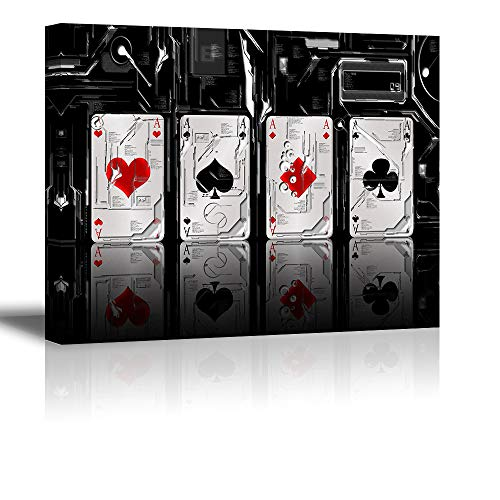 Tku's Abstract Canvas Wall Art Poker Cards Painting for Bedroom, Ace On White Black Background Picture, Modern Home Decor (Waterproof, Ready to Hang) ()
