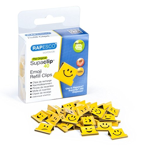 Rapesco Supaclip 40 Binder Clip Refill Pack, Emojis, Pack of 100 Clips (1335)