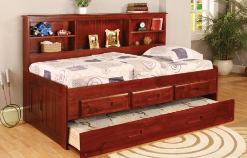 Discovery World Furniture Twin Daybed Bookcase with 3 Drawers and Trundle, 5 Drawer Chest, Bookshelf in Merlot Finish