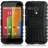 Moto G Case, JAMMYLIZARD [ALLIGATOR] Double Protection Rugged Back Cover for Motorola Moto G (1st Gen), Black