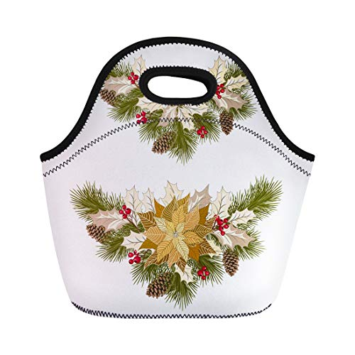 Semtomn Lunch Bags Berry Christmas Golden Poinsettia Fir Tree Pine Cones Holly Neoprene Lunch Bag Lunchbox Tote Bag Portable Picnic Bag Cooler Bag