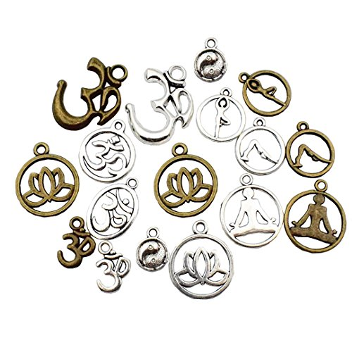 Charm Silver Jewelry Pendant Boxes (100g Yoga Charms - Mixed Antique Silver Bronze Sports Ohm Om Mala Yogi Chakra Indian Energy Love Sports Yoga Poses Slow Gossip Symbols Metal Pendants for Jewelry Making DIY Findings (HM22))