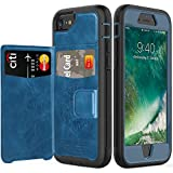 timecity iPhone 8 Wallet Case/iPhone 7 Card Case/iPhone 6 Leather Case.Slim Yet Protective with Kickstand.Built-in Metal Plate.Flip Leather Cover for iPhone 8/ iPhone 7/ iPhone 6 4.7 inch Case-Blue