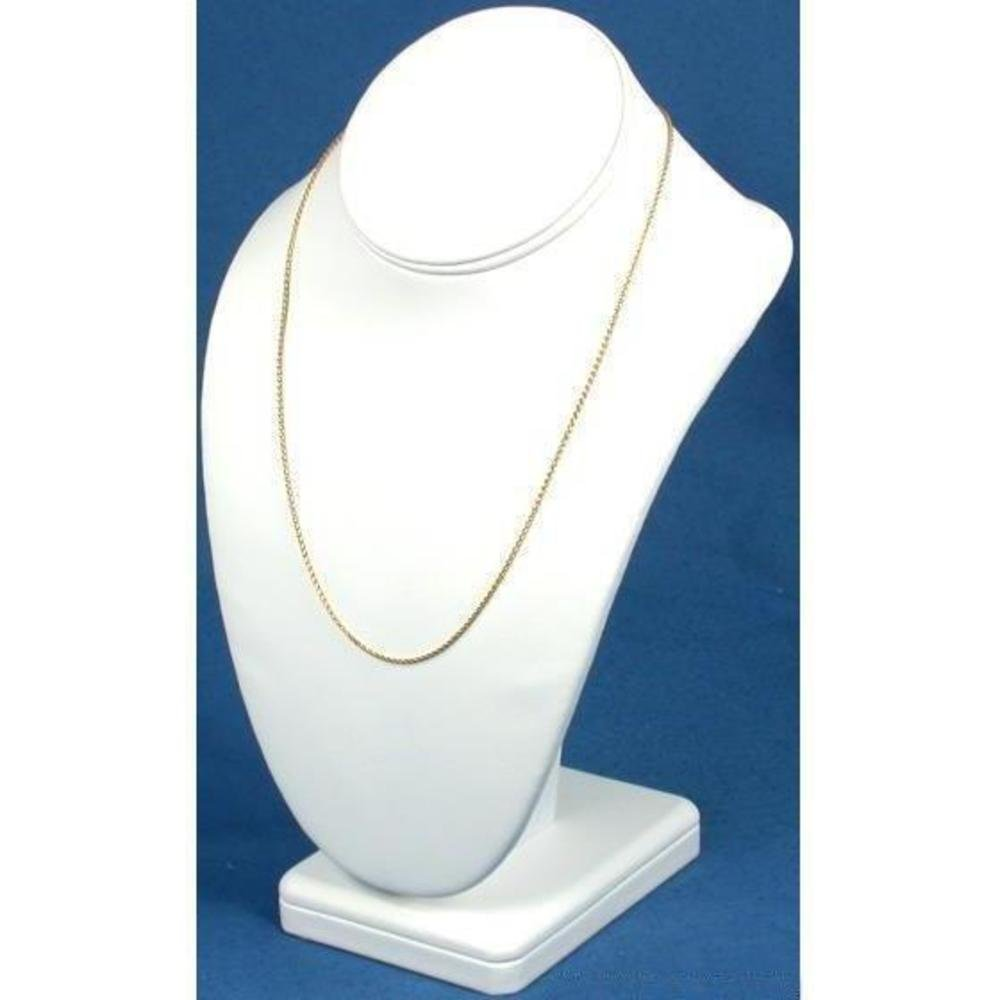 Necklace Bust Showcase White Leather Jewelry Display 189-7LW