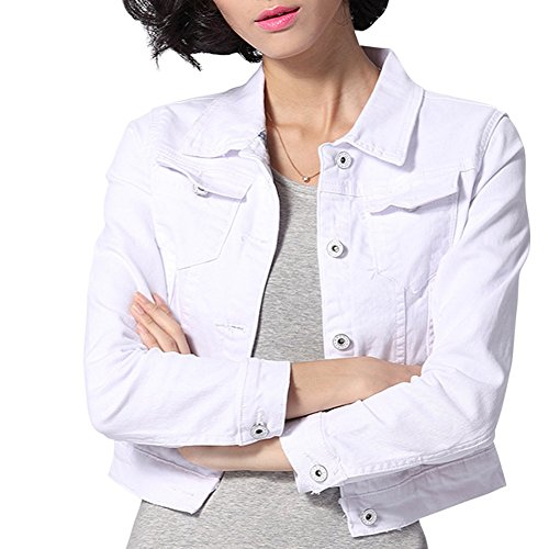 - Dasior Women's Slim Fit Short Cropped Button Down Jean Denim Jacket with Pockets S White