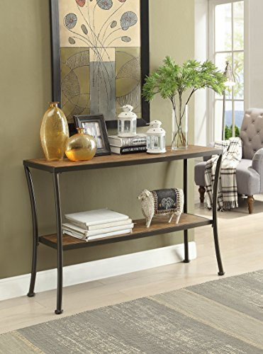 Metal Console Sofa Table (Vintage Brown Finish Metal Frame Console Sofa Table with Lower Shelf)