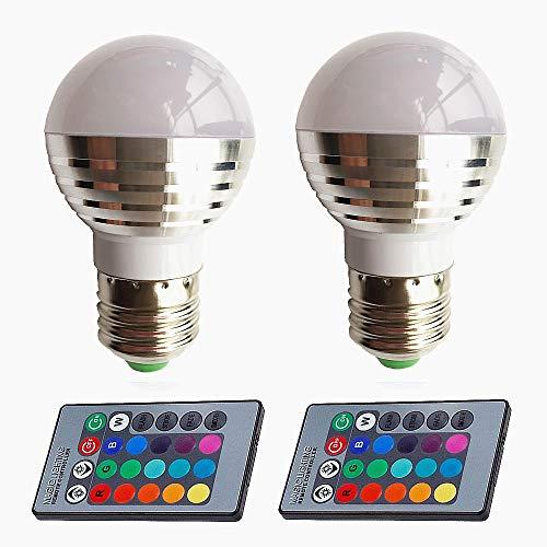 Eleidgs 2 PCS XQ001 3W Decorative Bulbs RGB LED Magic Light Bulb Lamp, Mood Lighting LED E26/E27 Bulb Color Changing with Remote Control (Lighting Magic Remote)