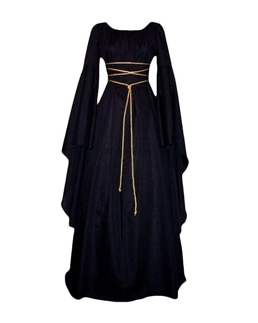 Mujer Mangas Largas Cuello Redondo Vestido Medieval De Señora ...