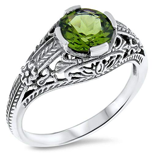 Genuine Peridot Antique Art Deco Style .925 Sterling Silver Ring Size 10 KN-4545 from VELEZO