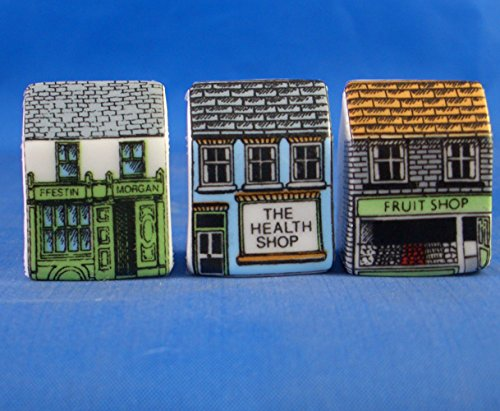 Porcelain China Collectable - Miniature House Thimbles Set of Three -- Shops