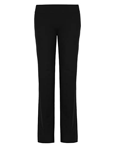 Ladies Marks & Spencer Flat Front Straight Leg Jogger Trousers Sport Active Gym (16 Short, Black)