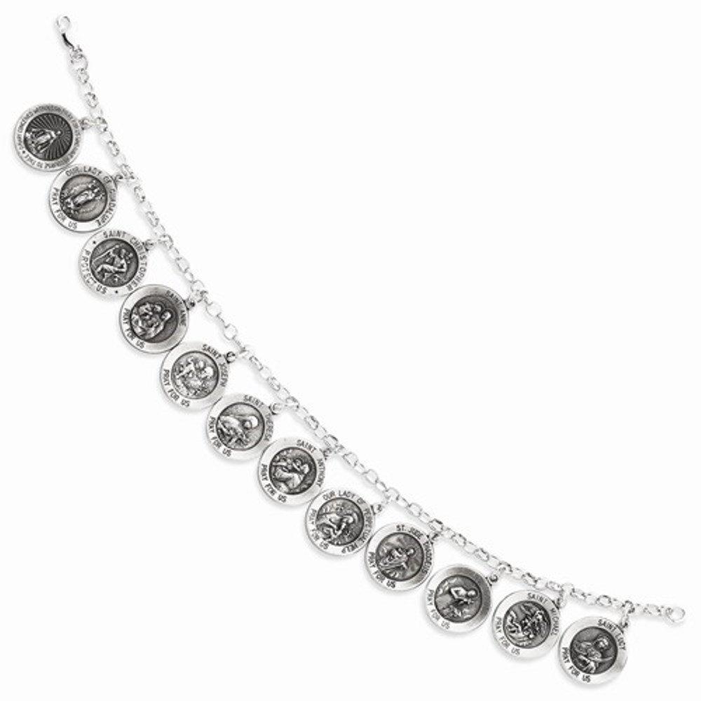 Sterling Silver 12 Saints Charm Bracelet 7 Inch