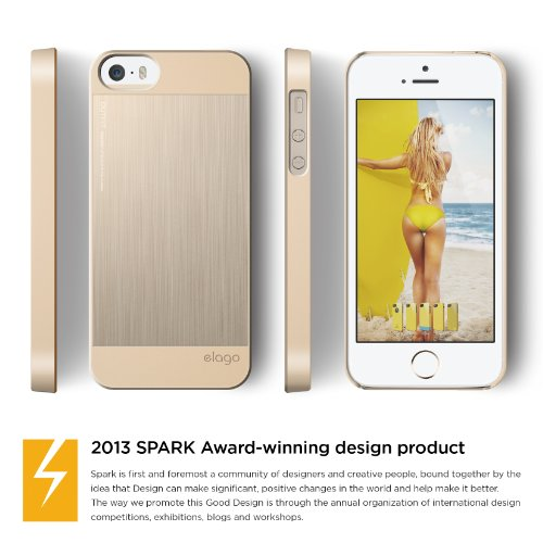 iPhone SE case, elago® [Outift Matrix][Champagne Gold] - [Premium Hybrid Construction][Diamond-Cut Aluminum][Spark Design Award] - for iPhone SE/5/5S
