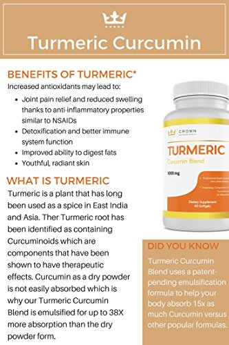 Turmeric Curcumin 1000mg, 60 Softgels, Crown NutraScience - 380mg Turmeric Extracts (Curcuminoid Powder) per Single Softgel, Emulsified for Maximum Absorption, Premium Joint Support & Pain Relief by Crown NutraScience (Image #6)