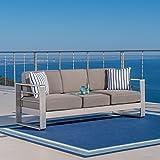 Crested Bay Outdoor Aluminum Khaki Sofa with Tray