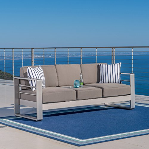 Crested Bay Outdoor Aluminum 2 Seater Khaki Sofa with Tray by GDF Studio