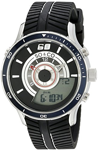 SO&CO New York Men's 5035.1 Monticello Analog-Digital Display Black  Rubber Strap - Strap Rubber Display