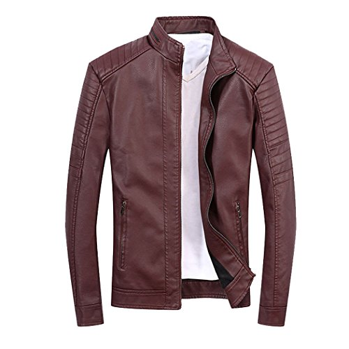 Modern Fantasy Mens Mens Classic Stand Collar Motorcycle Pu Leather Jacket Size US Wine Red - Designer 2015 Most Popular Brands