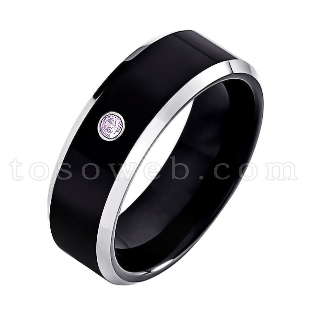 Men's 0.07ct Amethyst Solitaire Wedding Band, February Birthstone Tungsten Ring, Black Ion Plated High Polished Beveled Edge 2-Tone Tungsten Carbide Anniversary Ring-s7.5