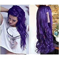 20 Inches Synthetic One Piece Wavy Curly Half Head Clip in Hair Extensions Solid Color DL(Purple)