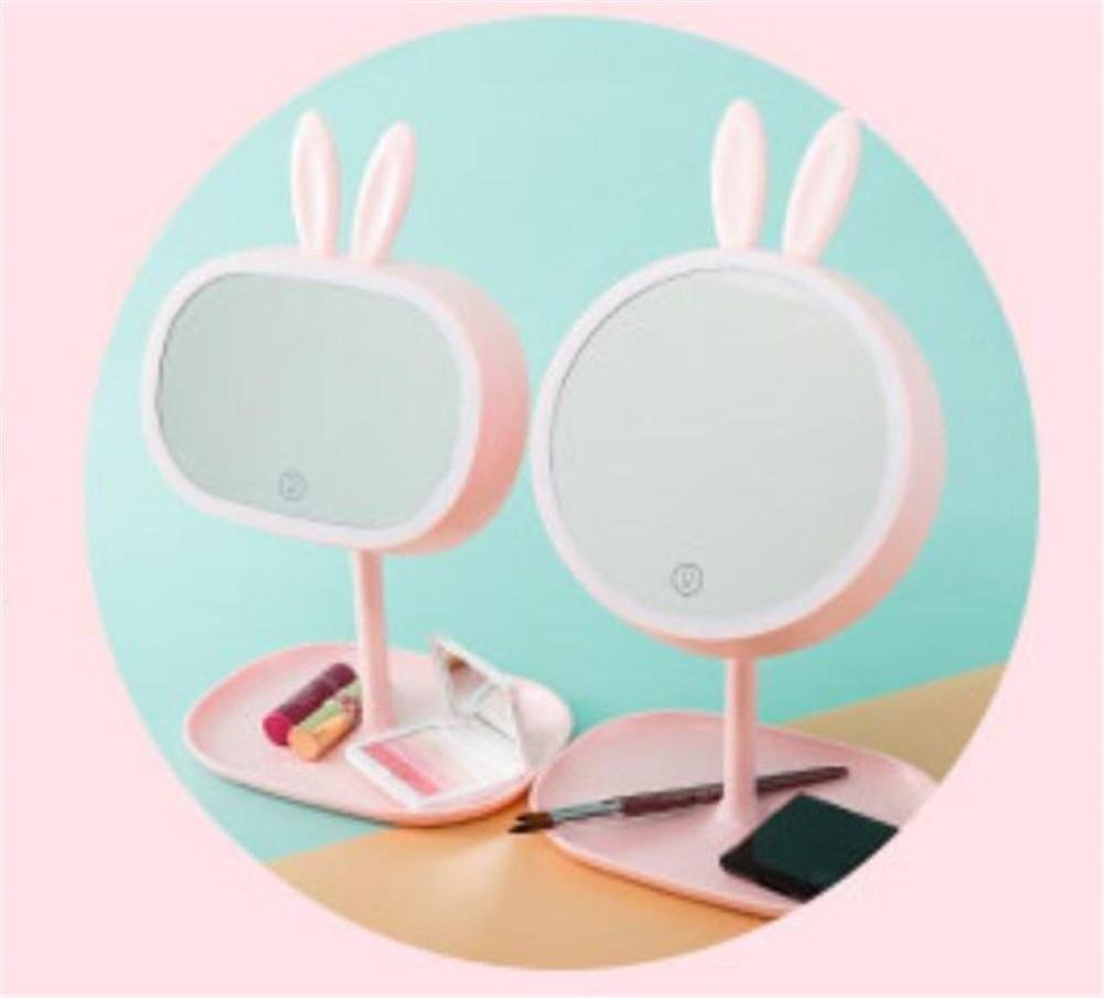 LUCKY CLOVER-AValentine's Day Gift Xmas ear lug Princess Makeup Mirror Table Lamp LED Portable Touch Screen Cordless Adjustable Desk Night Light , E