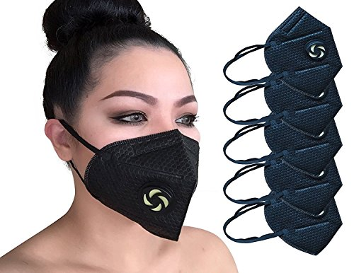 N95 Dust Pollution Mask - (5-Pack) 5-Layer Filtration and Protection | Protect Against Germs, Dust, Allergens, Particles | Home, Commercial Use | w/Valve Men, Women, Kids