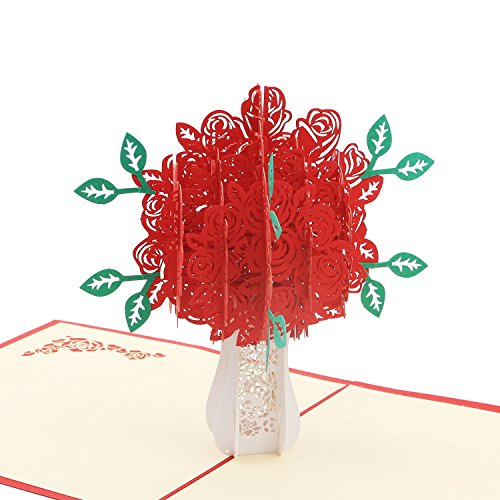 3D Pop Up Anniversary Card - Chaste Snowy-white Vase Hugging Fiery Red Rose - for Wedding Invitation Anniversary Card Miss You (Rose Wedding Invitation)