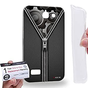 Case88 [Huawei Ascend G730] Gel TPU Carcasa/Funda & Tarjeta de garantía - Art Fashion Design Gery Striped Denims Art1665