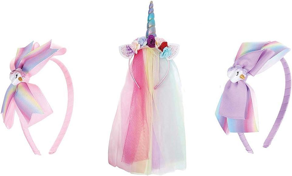 """Rainbow Glitter Tulle Fabric Unicorn Hair Bow Clip 4/"""""""