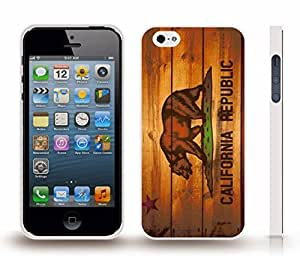 iStar Cases? iPhone 5/5S Case with California Republic Flag With Wood Look Design , Snap-on Cover, Hard Carrying Case (White)