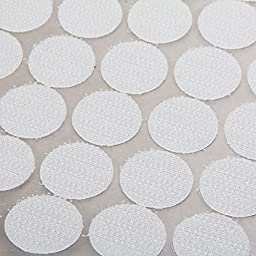 Vnfire 500 Pcs (250 Sets) 2cm Diameter Magic Sticky Coins Hooks & Loops Self Adhesive Dots Tapes White