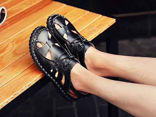 Antiscivolo Casual Sandali in Resistente Cava all'Usura Casual Sandali Pelle Moda Scarpe Pelle da Antiscivolo Scarpe Black in Singole Traspiranti Uomo 8BFwv0