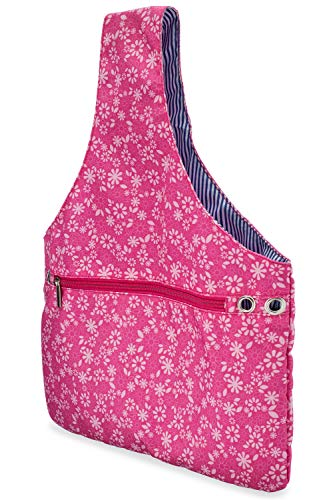 JamieCraft Yarn Bag - Portable, Light, and Easy to Carry Canvas Wrist Bag for Crochet and Knitting On The Go, Project Bag Holds Supplies and 14 Inch Needles or Hooks (Pink Floral)