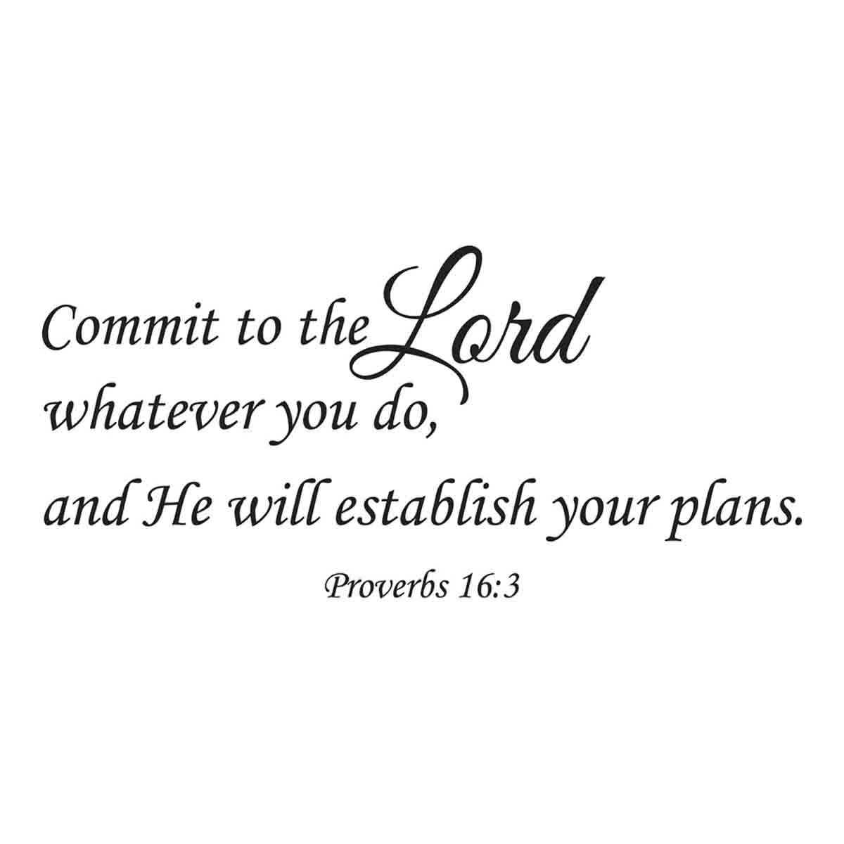 Empresal Commit to The Lord Whatever You Do and Your Plans Will Succeed Wall Decal Quote Proverbs 16:3 Bible Verse Vinyl Scripture Removable Art Decor Sticker