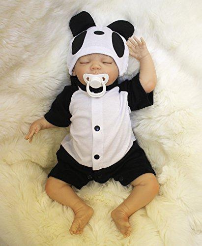 ZIYIUI Reborn Puppe weiches Silikon Vinyl 22 Zoll 55cm magnetischer Schnuller realistische Junge und Mädchen Spielzeug Panda Kostüm geeignet, EN71 Zertifizierung