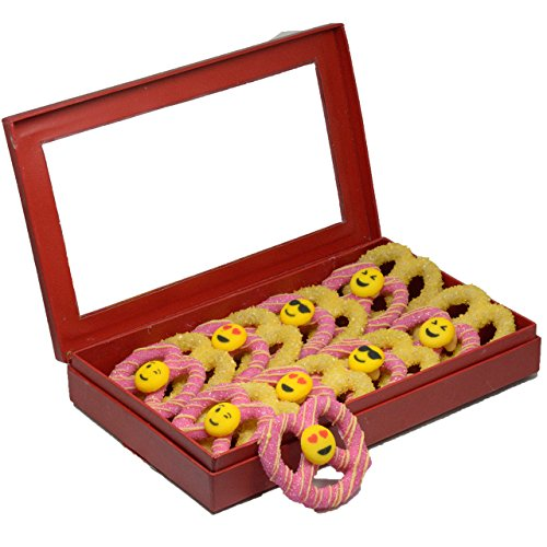 Emoji Faces Smiley White Chocolate Covered Pretzel Twist Pink and Yellow Variety Red box,16 - Candy Pretty