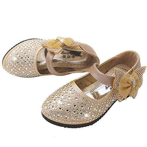 YING LAN Little Big Girl Glitter PU Leather Mary Jane Shoes Gold (Gold Mary Jane Shoes)