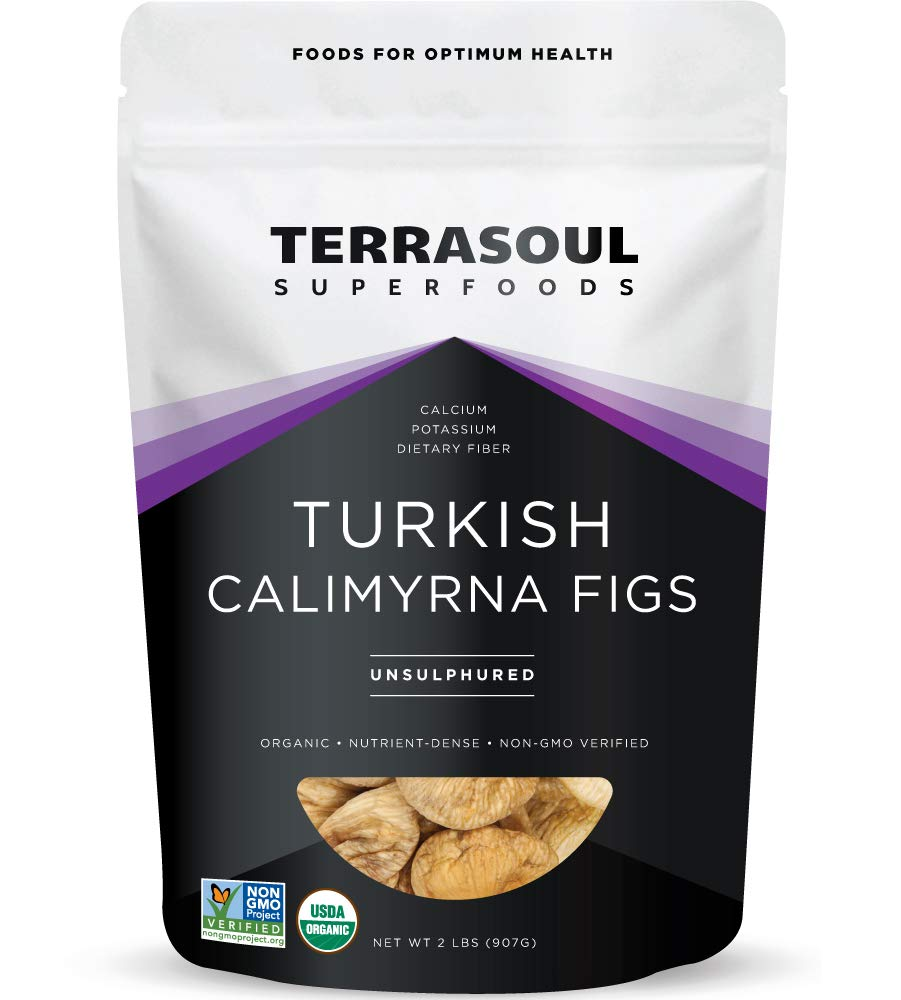Terrasoul Superfoods Organic Turkish Figs (Calimyrna), 2 Lbs - No Added Sugar | Unsulphured | Perfectly Dried