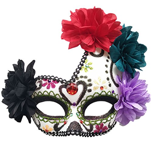 Women's Masquerade Mask Mexican Day of The Dead Sugar Skull Eyemask Masque Fancy Dress -