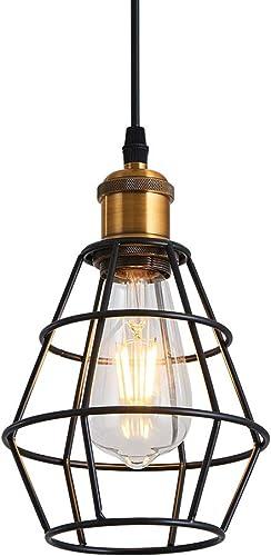 Pendant Light Fixture Chandelier Lighting Fixtures Indoor Black Basket Cage Hanging Ceiling Lamp for Kitchen Island Dining Room Bar