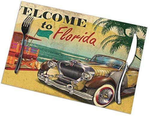 Beryl Shop Bienvenido a Florida Manteles Individuales para Mesa de Comedor de Cocina, tapetes Lavables Alfombra de Aislamiento termico para Mesa de Comedor de Co