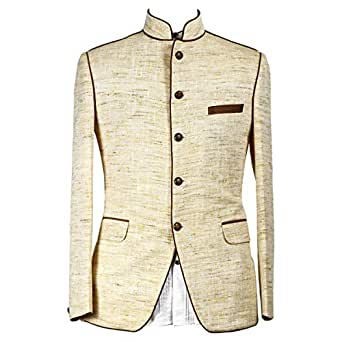 Libas Riyaz Gangji Beige Linen Blazer For Men