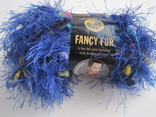 Fancy Fur Yarn Scarves - Brilliant Blue Lion Brand Fancy Fur Eyelash Yarn - Brilliant Blue