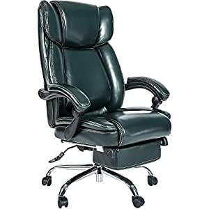 Merax Inno Series Executive High Back Napping Chair with Ajustable Pivoting Lumbar and Padded Footrest for Home and Office (Fir Green)