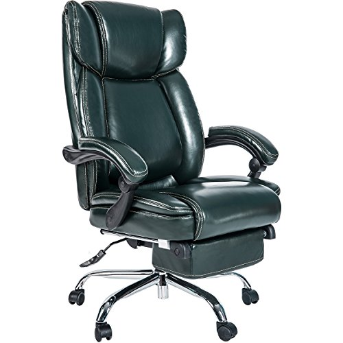 (Merax Inno Series Executive High Back Napping Chair with Ajustable Pivoting Lumbar and Padded Footrest for Home and Office (Fir Green))