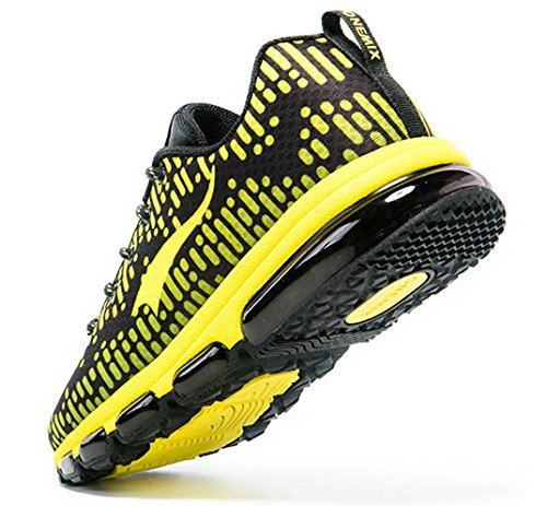 Onemix-Mens-Air-Cushion-Running-Shoes-Black-Yellow-Size-10